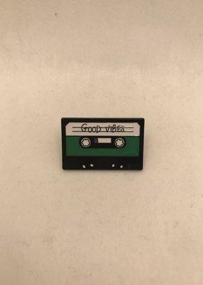 collage Enamel Pin Good Vibes Cassette Tape