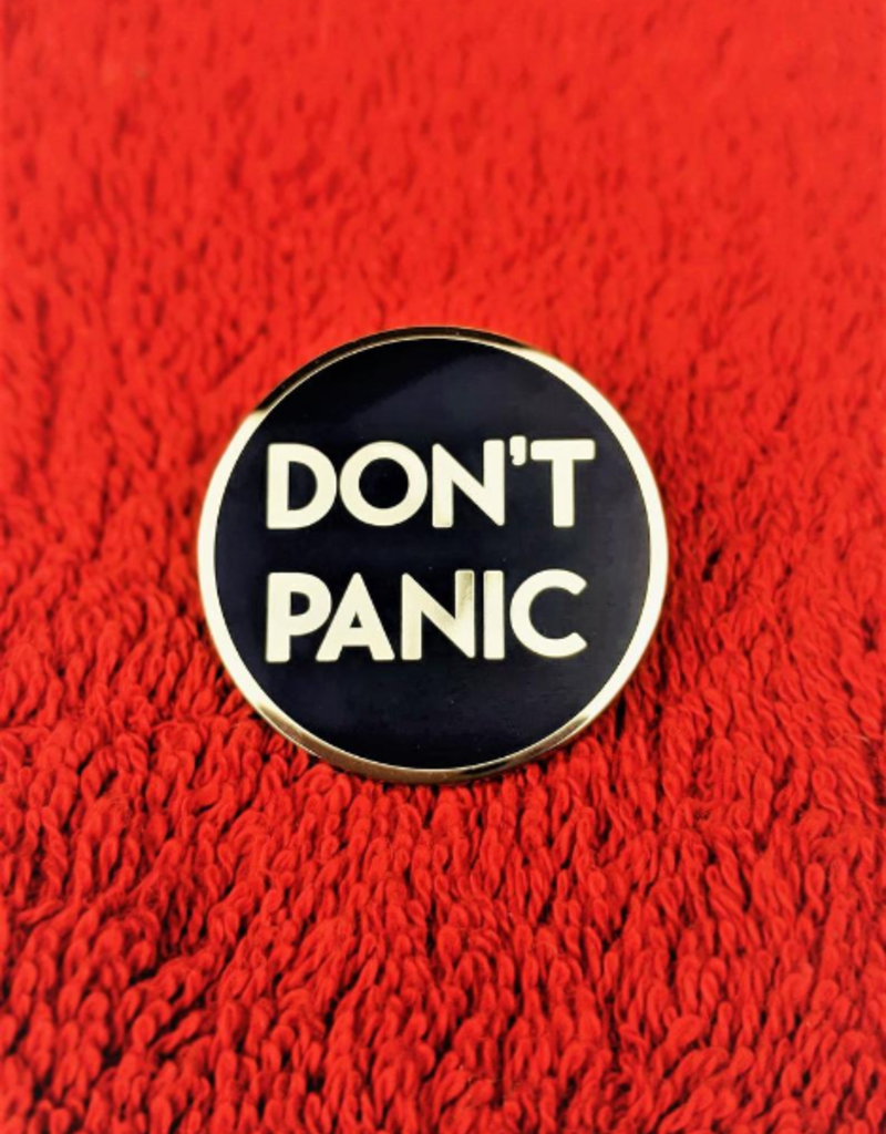 collage Enamel Pin Don't Panic