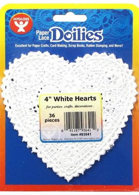 Hygloss Paper Lace Heart Doilies White