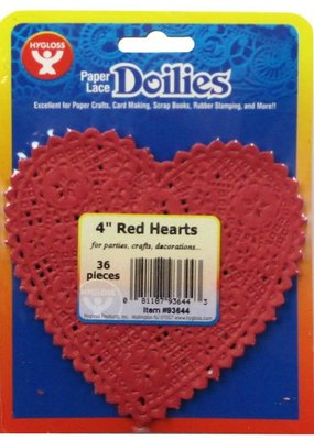 Hygloss Paper Lace Doilies Heart Red