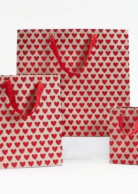 Waste Not Red Glitter Hearts Bag Small