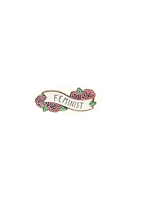 collage Enamel Pin Feminist Banner
