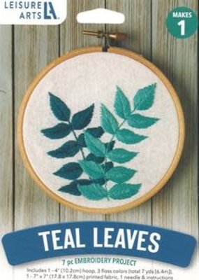 Leisure Arts Embroidery Kit Teal Leaves