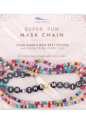 Lucky Feather Beaded Mask Chain Stay in the Magic