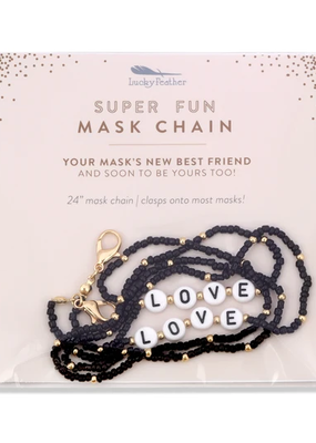 Lucky Feather Beaded Mask Chain Love