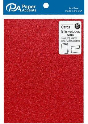 PA Essentials Red Glitter Card & Envelope Set
