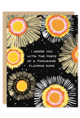 Party of One Card Flaming Suns