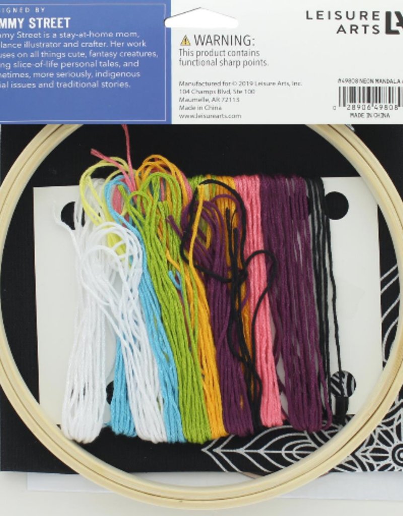 Leisure Arts Embroidery Kit Neon Mandala