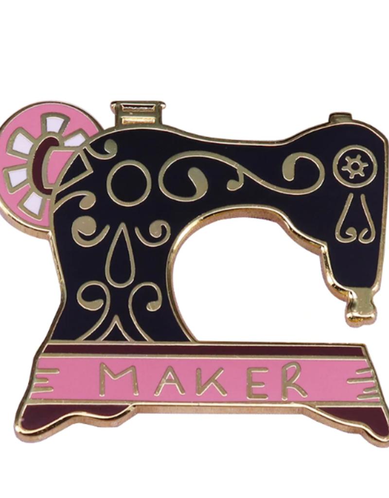 collage Enamel Pin Retro Black Sewing Machine