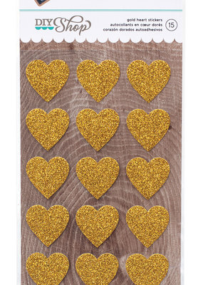 American Crafts Stickers Gold Glitter Hearts