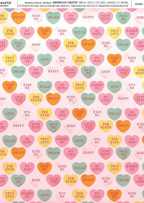 American Crafts 12 x 12 Decorative Paper Candy Hearts