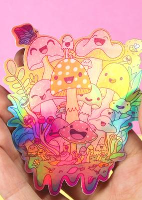 Turtle's Soup Vinyl Sticker Happy Mushroom Psychedelic