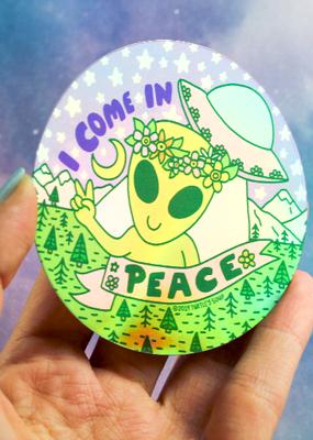 Turtle's Soup Vinyl Sticker I Come In Peace Alien