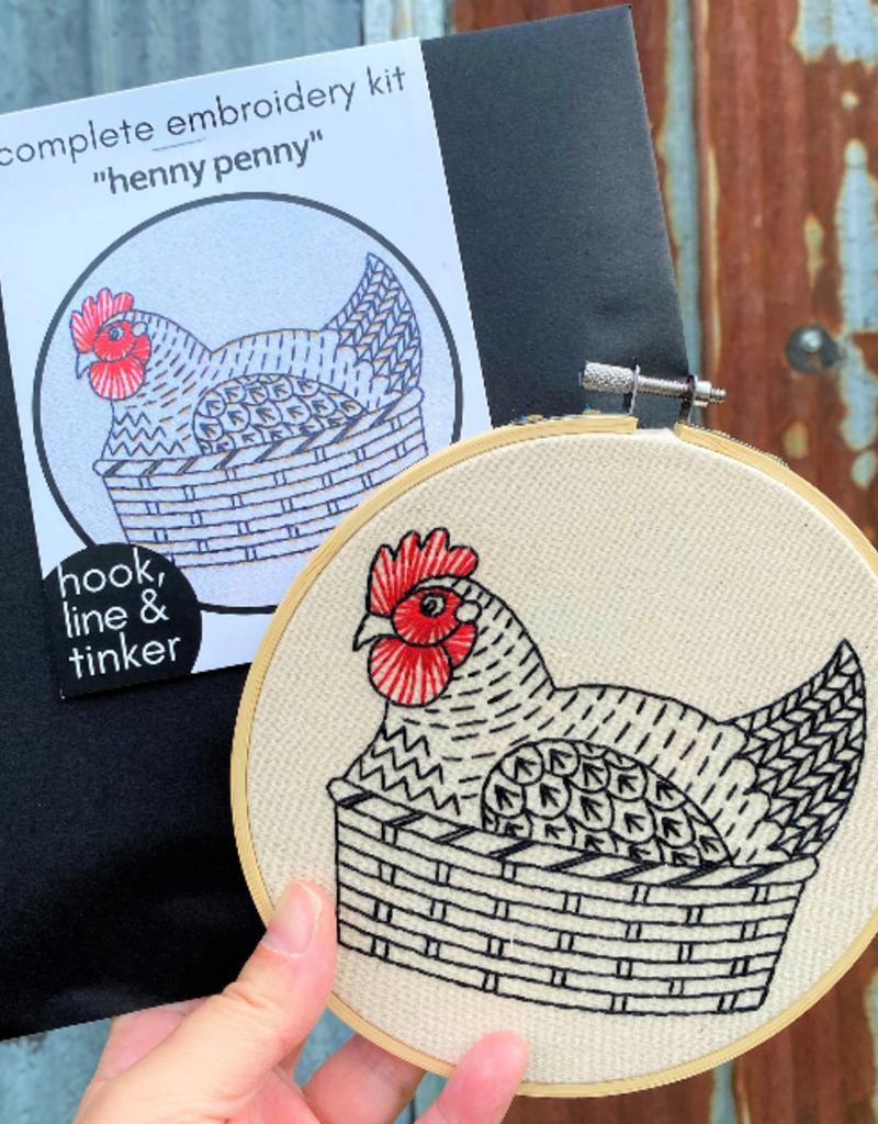 Hook, Line & Tinker Embroidery Kit Henny Penny