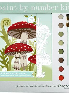 elle cree Paint By Number Kit Mushrooms & Fern Fronds