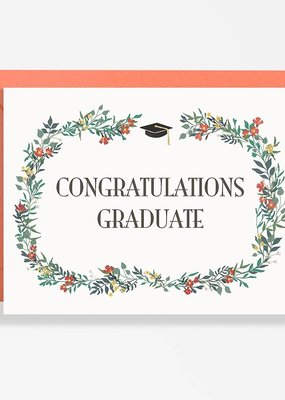 Waste Not Card Congrats Grad Floral Wreath