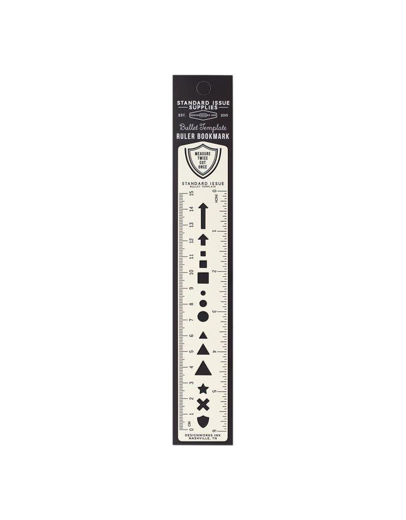 Designworks Ink Bullet Template Metal Ruler Bookmark 6 Inch Cream