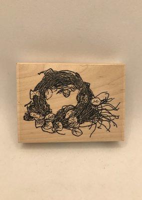 collage Stamp Leafy Nest
