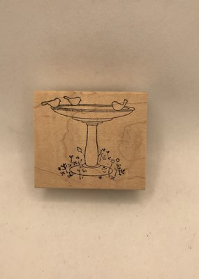 collage Stamp Woodland Birdbath