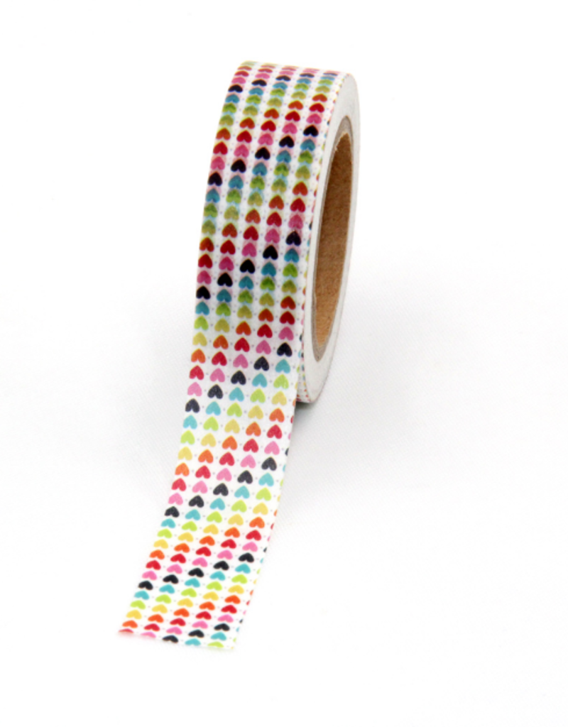 collage Washi Tiny Rainbow Hearts
