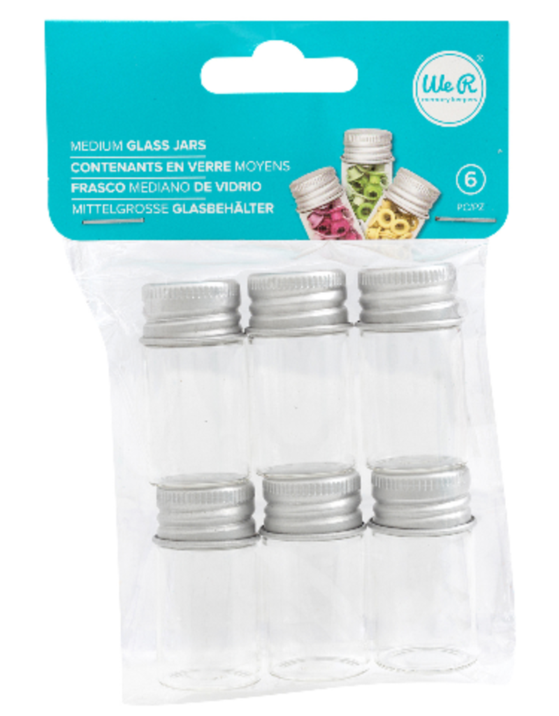 We R Memory Keepers Glass Bottle With Metal Lid Medium 6 Pack