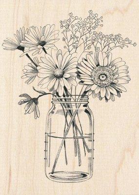 Inkadinkado Stamp Floral Mason Jar