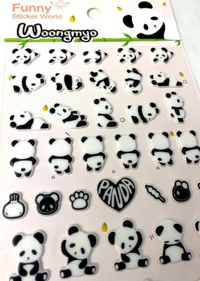 Stickers Panda Puffy