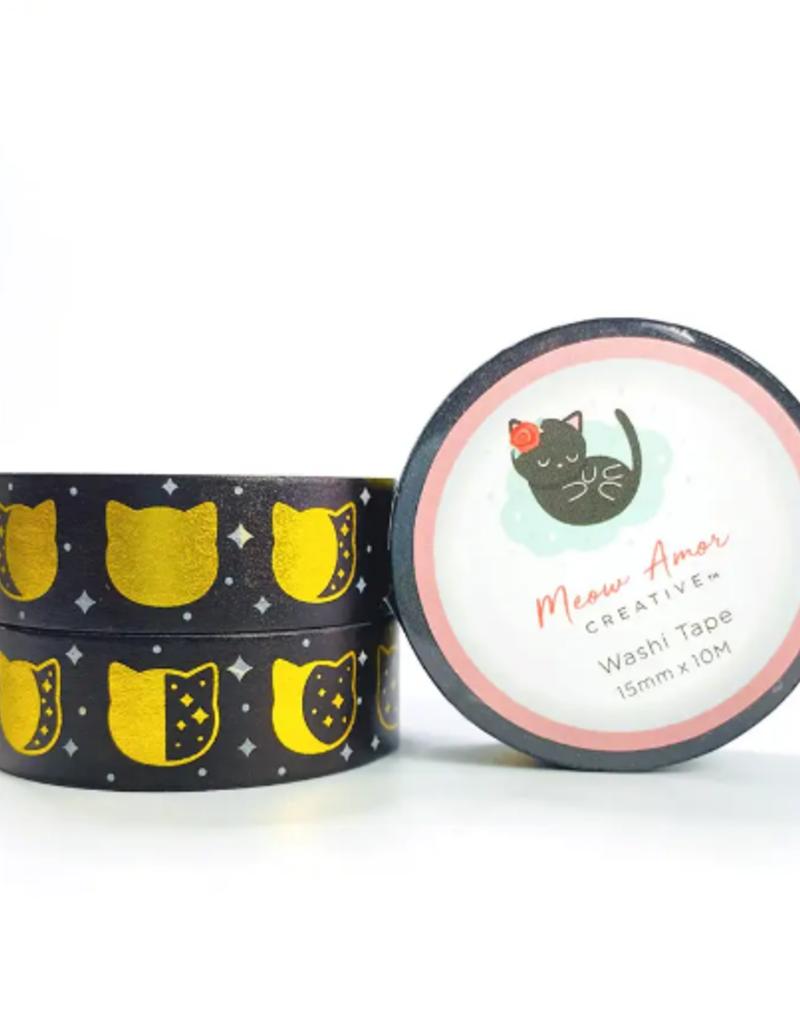 Meow Amor Creative Washi Black Cat Moonphase