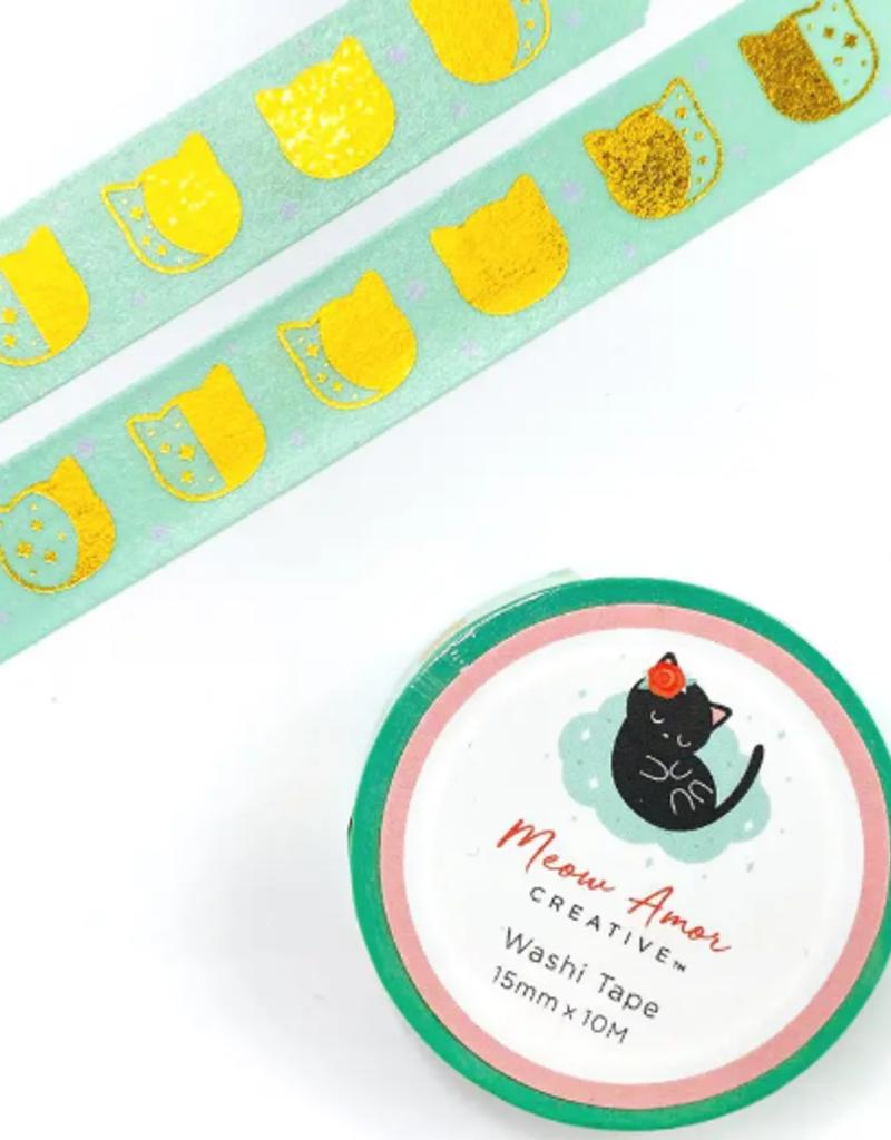 Meow Amor Creative Washi Mint Cat Moonphase
