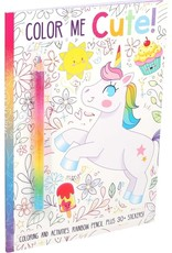 Simon & Schuster Color Me Cute! Coloring & Activity Book with Rainbow Pencil