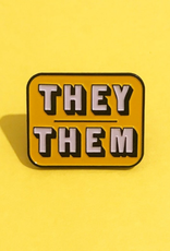 collage Enamel Pin They Them Yellow
