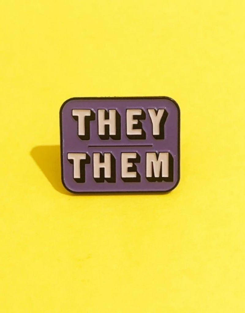 collage Enamel Pin They Them Purple Grey