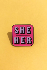 collage Enamel Pin She Her Pink