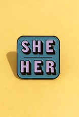 collage Enamel Pin She Her Green
