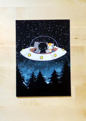 Stasia Burrington Postcard UFO Cats