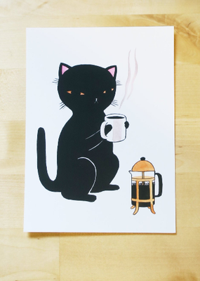 Stasia Burrington Postcard Coffee Cat