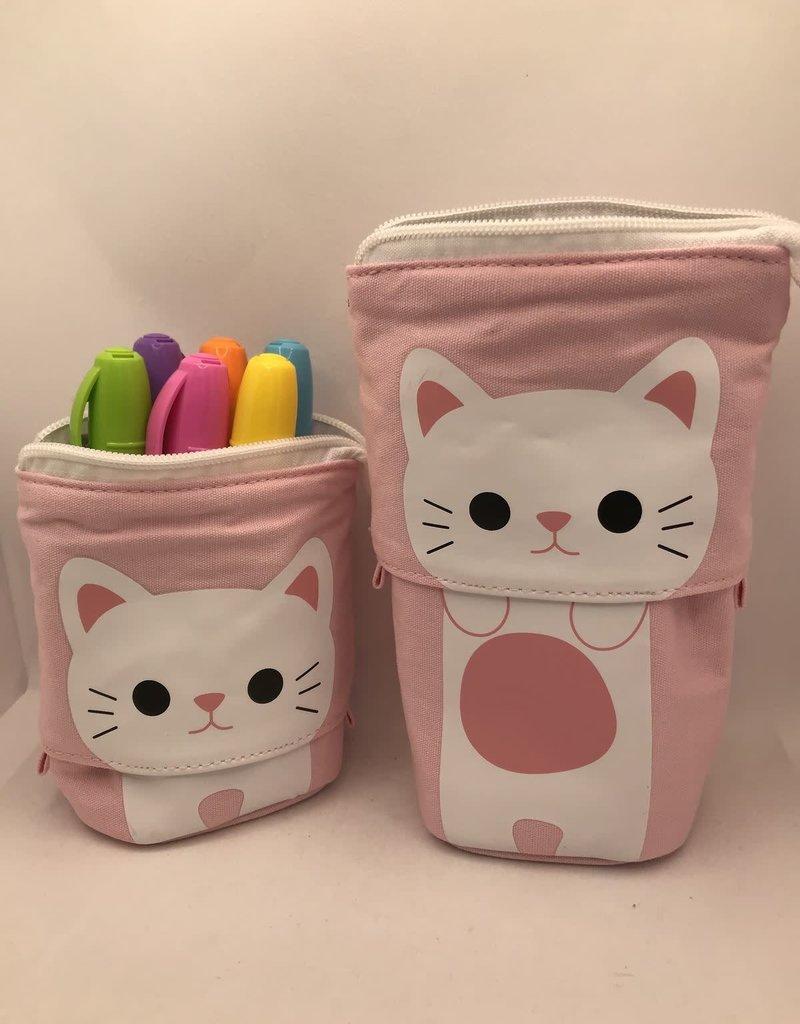 collage Cat Pencil Case Pink