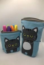 collage Cat Pencil Case Blue