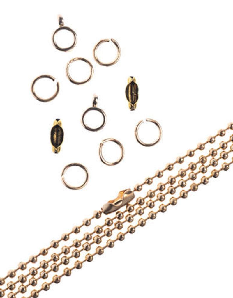 Ball Chain & Finding Set Gold