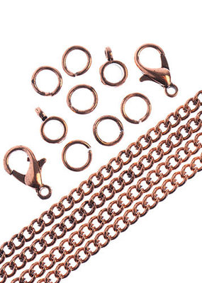 Curb Chain & Finding Set Antique Copper