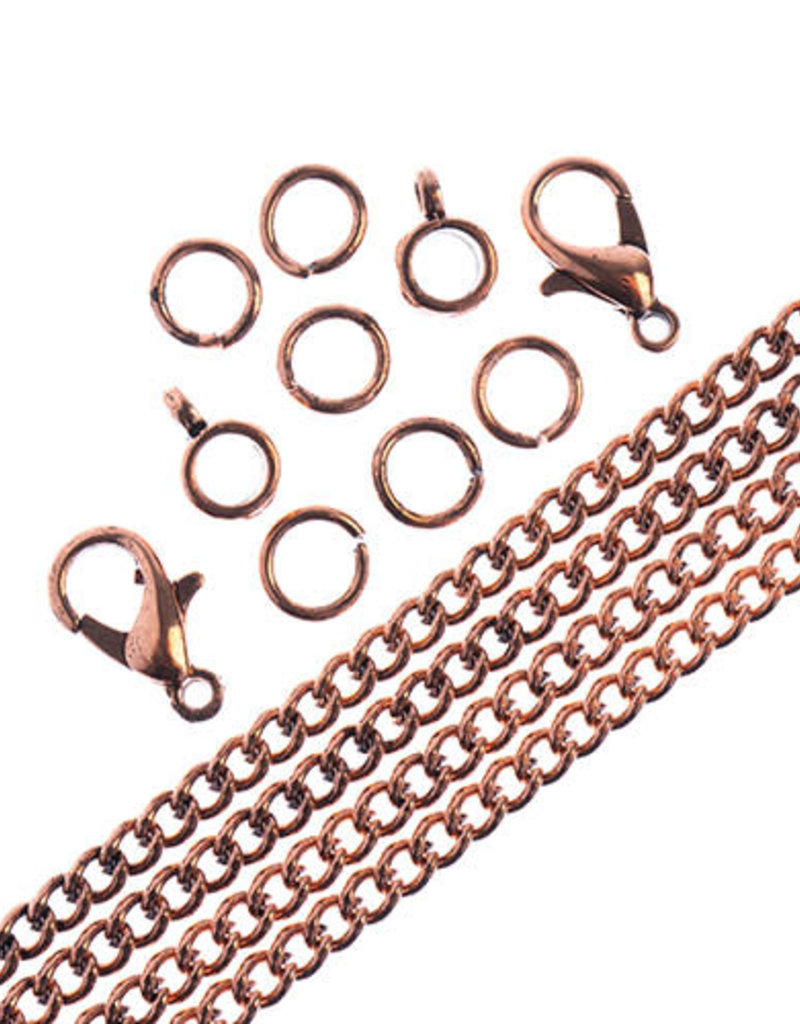 Curb Chain & Finding Set Antique Copper
