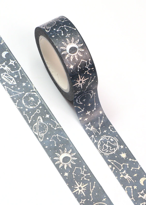 collage Washi Silver Foil Starry Sky