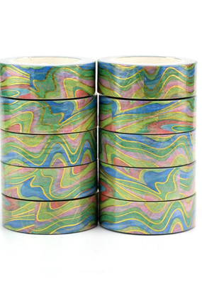 collage Washi Rainbow Marble Foil