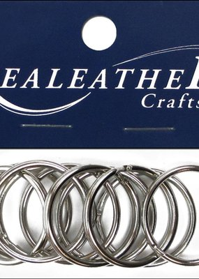 """Realeather Crafts Split Key Rings 1.25"""" Nickel"""