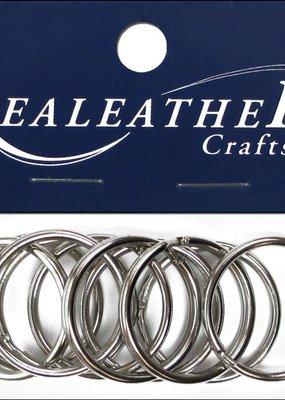 """Realeather Split Key Rings 1.25"""" Nickel"""