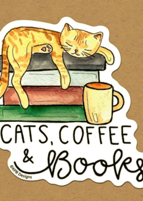 KPB Designs Sticker Cat Coffee Books