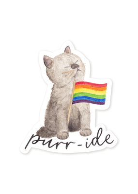 Amy Zhang Sticker Rainbow Flag Purr-ide