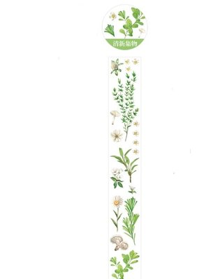 collage Washi Clear Daisy and Herbs