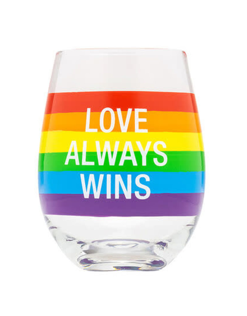 About Face Love Always Wins Wine Glass