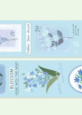 collage Washi Blue Blooms